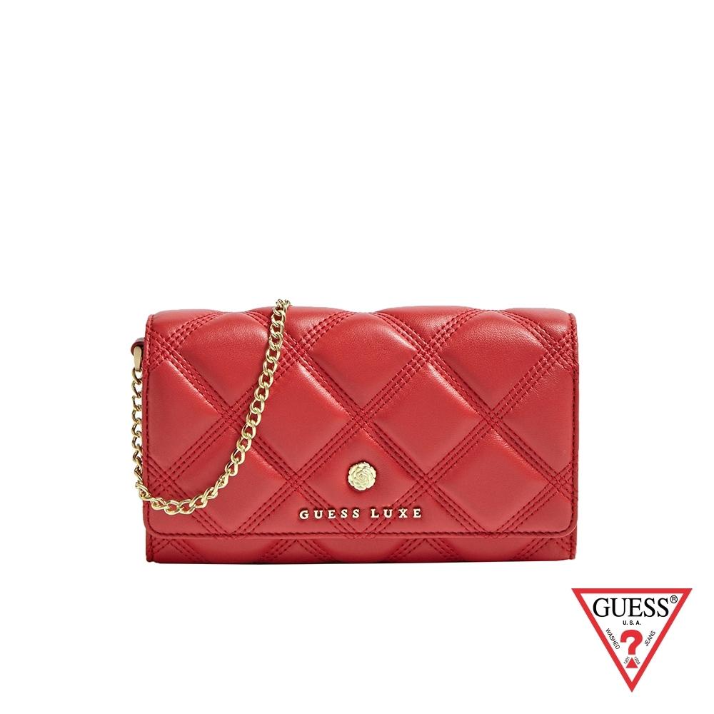 GUESS-女夾-LUXE菱格紋鏈條長夾-紅 原價4290