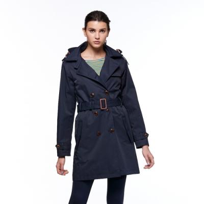 【HAKERS 哈克士】女款 防水風衣外套(深藍色)