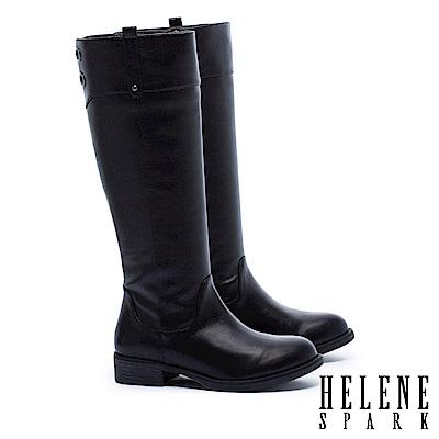 長靴 HELENE SPARK 簡約百搭金屬鉚釘點綴粗低跟長靴-黑