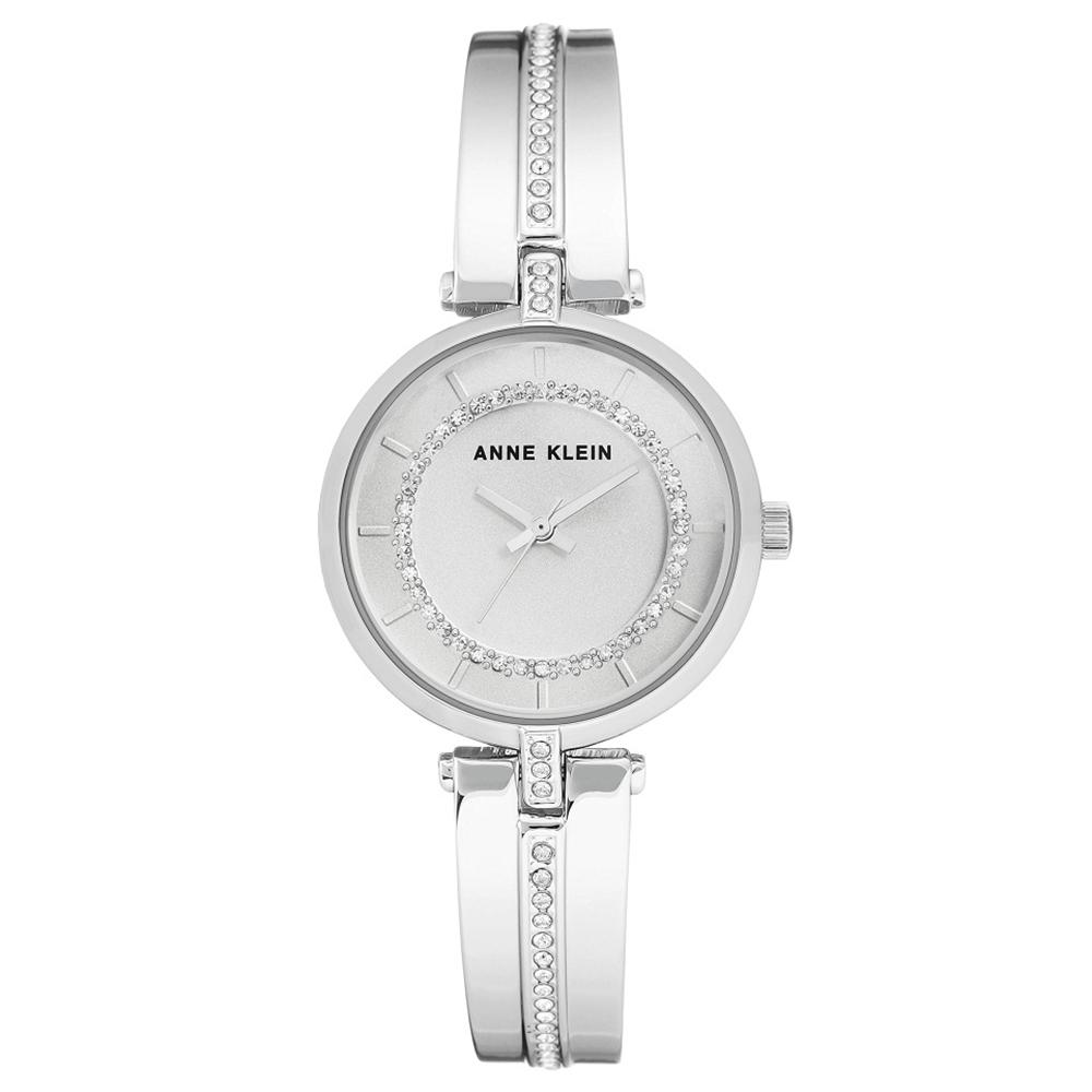 Anne Klein 華爾滋圓舞曲華麗施華洛世奇水鑽腕錶-銀x30mm