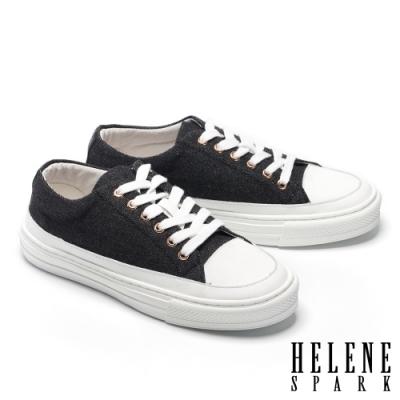 休閒鞋 HELENE SPARK 簡約率性牛仔布厚底休閒鞋-黑