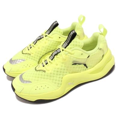 Puma 休閒鞋 Rise Neon Wns 復古 女鞋 微增高 穿搭推薦 街頭風 反光 螢光黃 黑 372444-01