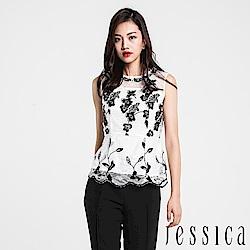 JESSICA - 典雅黑白蕾絲肩部透膚背心上衣