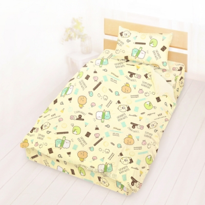 享夢城堡 單人床包雙人涼被三件組-角落小夥伴 研習中-米黃
