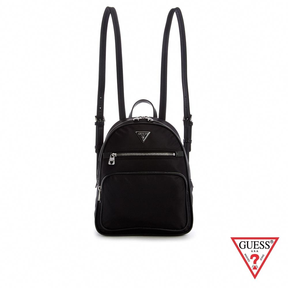 GUESS-女包-輕巧簡約素面多夾層後背包-黑 原價2690
