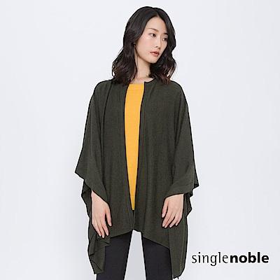 獨身貴族 質樸原野方型開襟羊毛針織披肩(2色)