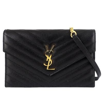 YSL MONOGRAM V型縫線珍珠紋牛皮金屬鏈帶手拿/斜背包(黑色/6卡)