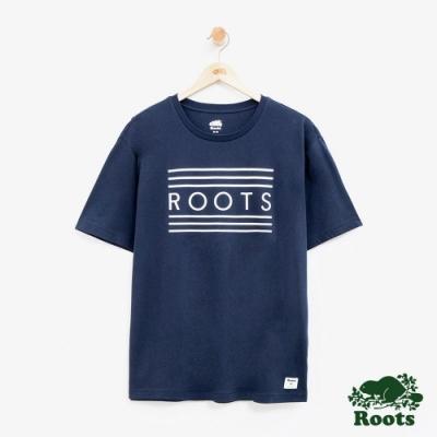 男裝Roots 彩虹短袖T恤-藍