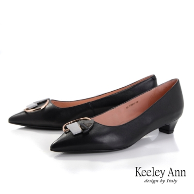 Keeley Ann極簡魅力 全真皮大理石紋低跟包鞋(黑色-Ann系列)