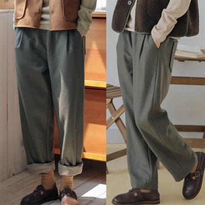 休閒褲-有內襯羊毛垂感西裝直筒寬鬆九分長褲-設計所在