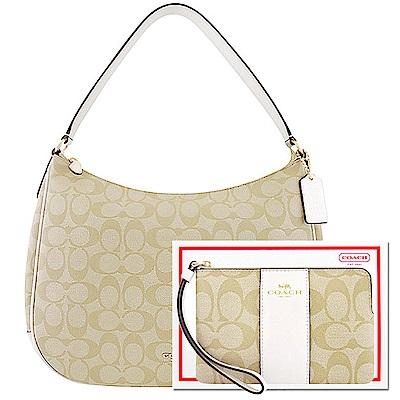 COACH 白色大C PVC側肩包-大型+COACH 白色大C PVC手拿包