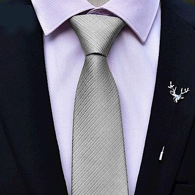 拉福   領帶6cm中窄版領帶精工手打領帶(銀灰)