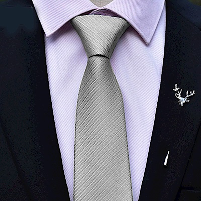 拉福   領帶6cm中窄版領帶精工拉鍊領帶(銀灰)