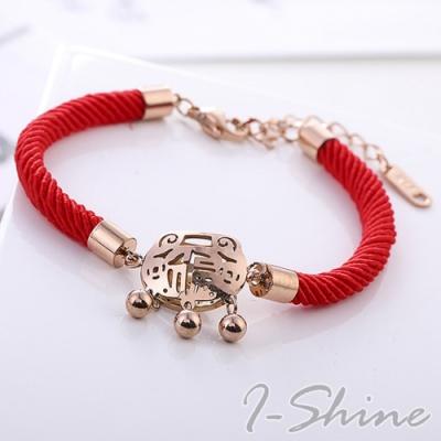 I-Shine-本命年鈴鐺福鎖平安鎖開運鈦鋼玫瑰金紅繩手鍊LA243