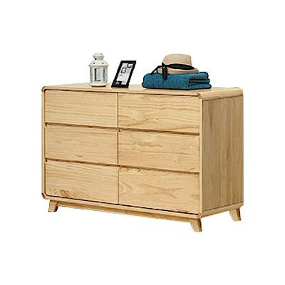 綠活居 普利斯時尚4尺實木六斗櫃/收納櫃-120x45x78cm免組