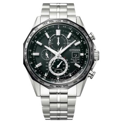 CITIZEN Eco-Drive 全面啟動鈦金屬時尚電波腕錶-銀X黑-AT8218-81E-44mm
