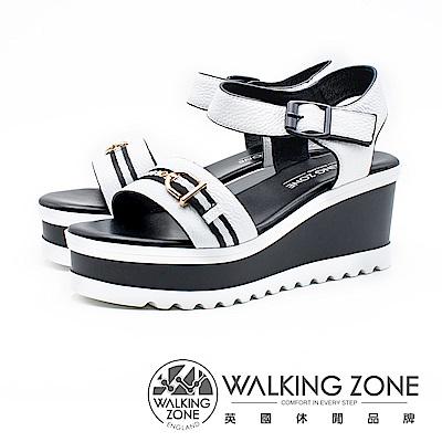 WALKING ZONE 真皮歐美裝飾繫帶楔型涼鞋 女鞋- 白(另有黑)
