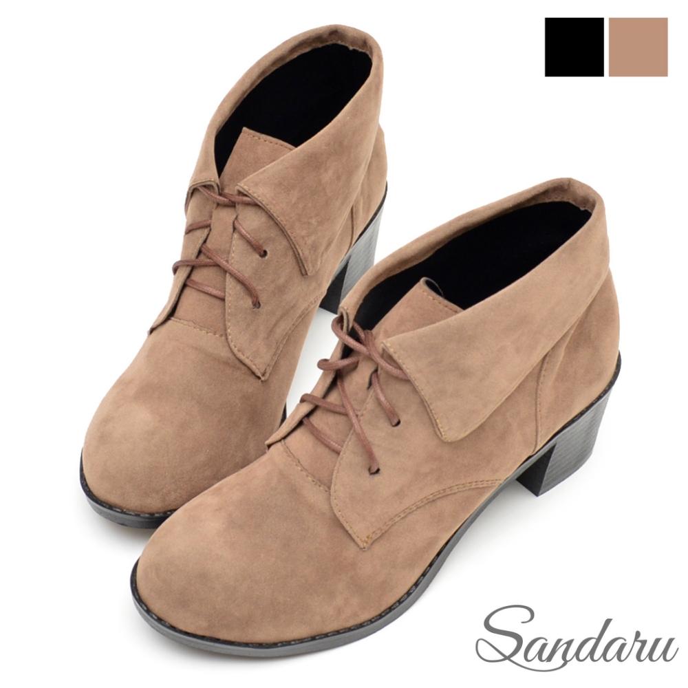 山打努SANDARU-短靴 氣質反摺綁繩絨面粗跟靴-可可