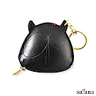 satana - Leather 真皮小惡魔零錢鑰匙包 - 黑色