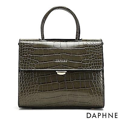 達芙妮DAPHNE-鱷魚紋斜背鍊帶小方包-墨綠