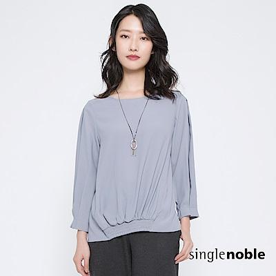 獨身貴族 典雅品味純色打褶袖雪紡上衣(2色)