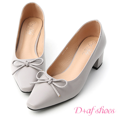 D+AF 優雅舞伶.蝴蝶結尖頭中跟芭蕾鞋*灰