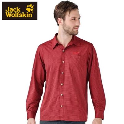 【Jack Wolfskin 飛狼】男 彈性長袖排汗襯衫『磚紅』