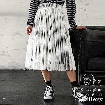E hyphen mer 4月號掲載-格紋蕾絲半透百褶裙