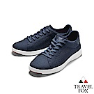 TRAVEL FOX(男) 輕雲系列  針織布面輕量抗菌都會運動鞋 -雅藍