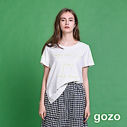 gozo 文字抽鬚繡線造型上衣(二色)
