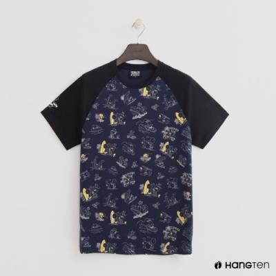 Hang Ten - 男裝 - Charlie Brown-夏日印花圖棒球短T-藍