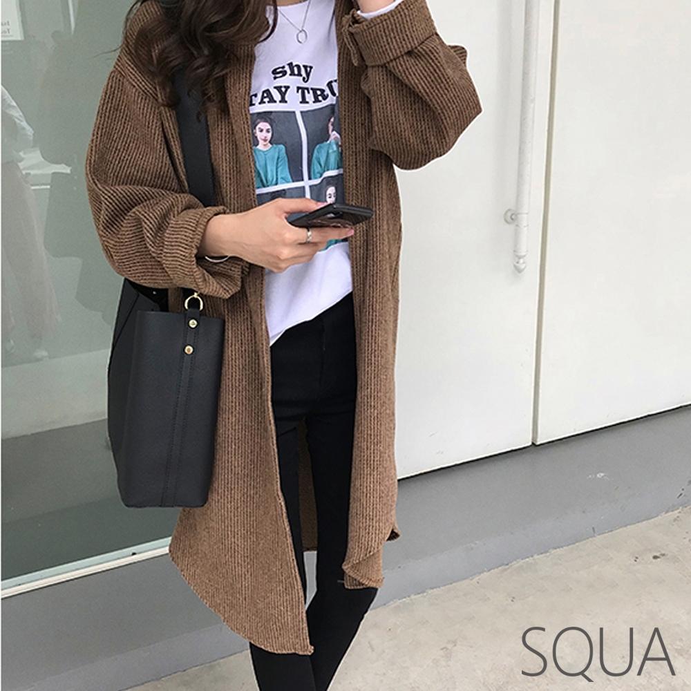 SQUA 燈芯絨坑條長版外套-二色-(M~XL)