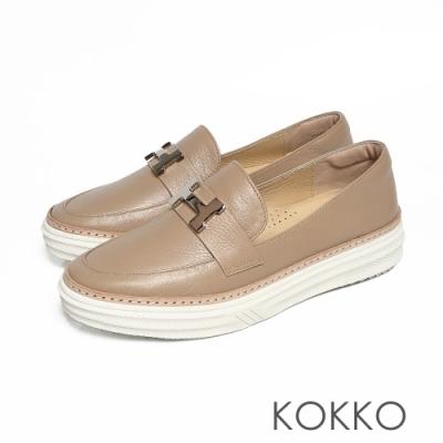 KOKKO - 極度舒適H扣真皮懶人休閒鞋 - 霧灰棕