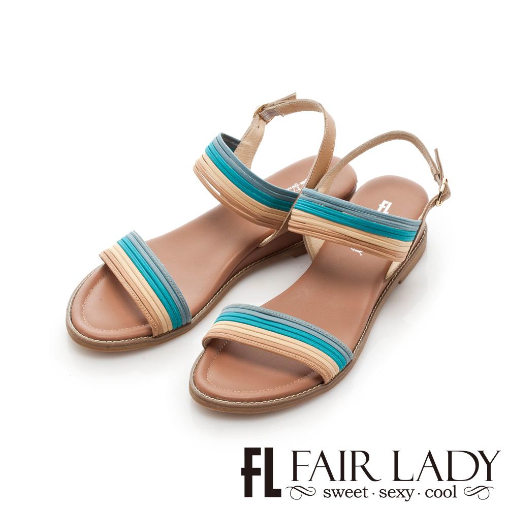 Fair Lady 撞色細條鬆緊帶楔型涼鞋 藍