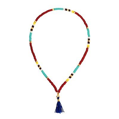 SHASHI Lily Navajo Red 微顆粒珠珠 流蘇手鍊 寶藍 彈性手圍