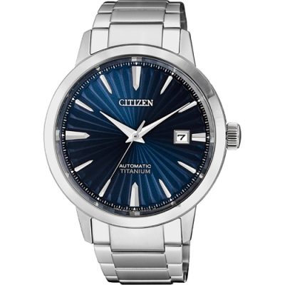 CITIZEN 星辰 鈦 自動上鍊機械手錶-藍x銀/40.5mm(NJ2180-89L)