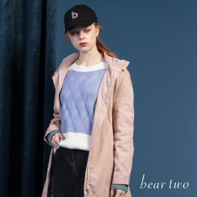 bear two- 雙色短版毛衣 - 藍