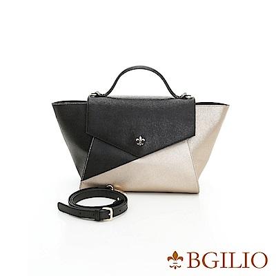 義大利BGilio-十字紋牛皮時尚幾何雙色2way包-金黑1943.003-17