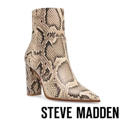 STEVE MADDEN-NEGOTIATE 尖頭高跟中筒靴-蛇皮