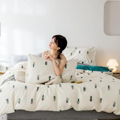 La Lune MIT精梳棉200織紗加大床包新式兩用被五件組 幸福小盆栽