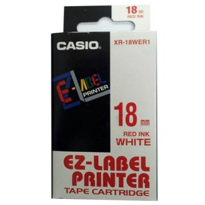 CASIO 標籤機專用色帶-18mm【共有9色】白底紅字XR-18WER1