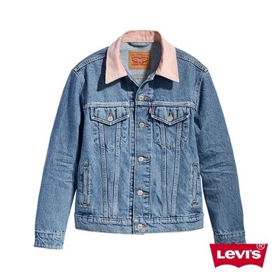 Levis 女款 牛仔外套 Boyfriend寬鬆版型 粉紅燈心絨領