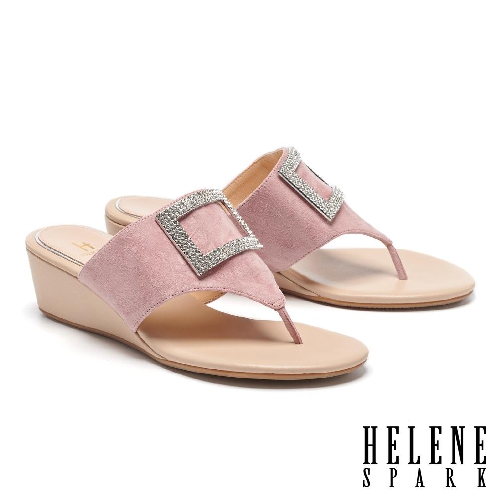 拖鞋 HELENE SPARK 輕奢時髦閃鑽方釦楔型高跟夾腳拖鞋-粉