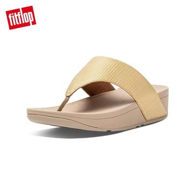 FitFlop OLIVE TEXTURED GLITZ TOE-POST SANDALS高包覆性舒適夾腳涼鞋-女(金鉑色)