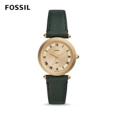 【FOSSIL】 LYRIC 知性女子的抒情詩詞石英腕錶-金X深綠皮革錶帶 32MM ES4705