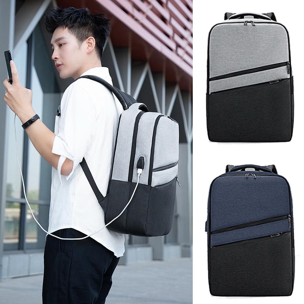 【優貝選】時尚型男撞色拼接防潑水多用途電腦包 差旅包 後背包