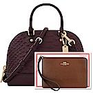 COACH 深咖啡色蛇紋皮革迷你型波士頓包兩用包+咖啡色防刮皮革手拿包