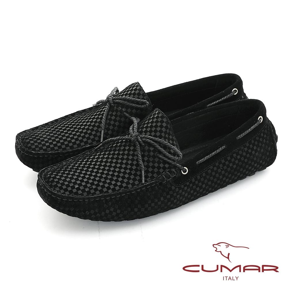 【CUMAR】時尚休閒 牛皮綁帶帆船鞋-黑