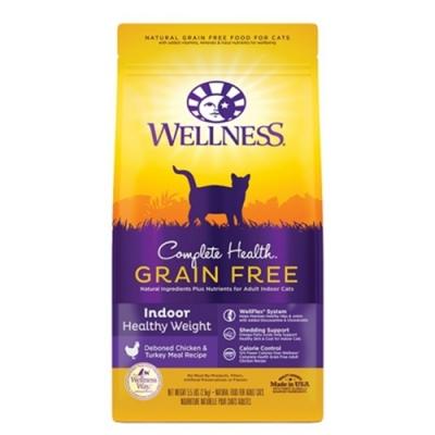 WELLNESS寵物健康-全方位無穀系列-室內貓-體重控制5.5LBS(效期:2020/07)兩包組