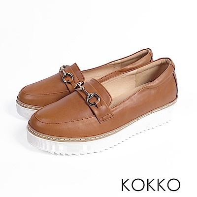 KOKKO -舒適體驗鎖鍊厚底真皮休閒鞋 - 暖合棕